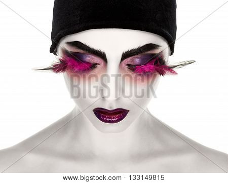 Face Art. Fantastic Make Up. luxury feather eyelashes, Surrealism