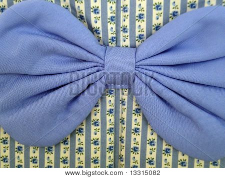 Fabric chintz flowers and blue bow