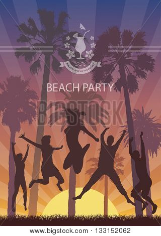 Summer Exotic Banner with Palm Trees for Beach Party. Young People enjoy on the Holiday. Exotic Landscape for Tourism.