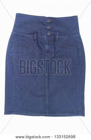 front view of dark blue jean mini skirt isolated on white background