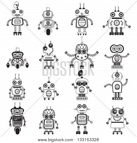 Robot icons mono vector symbols. Flat design style robots and cyborgs. Science fiction androids with artificial intelligence.