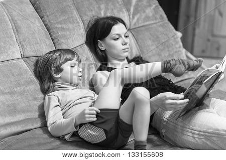 Mother And Her Son Read Book