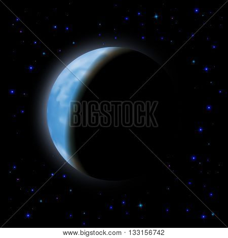 Eclipse of the planet on the black background blue shining stars.