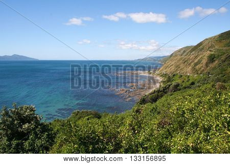 High view of Pukeura Bay and Kapiti Island North Island New Zealand