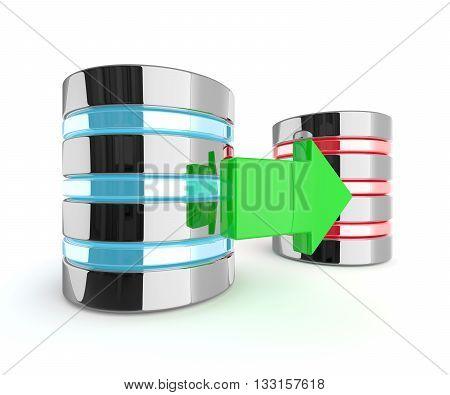 3d rendering two servers with arrow isolated over white background. Database backup concept