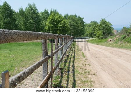 Rural cattle-pen with wooden fence along the road