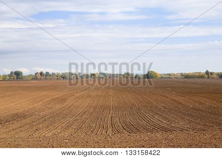 Agricultural field plowed brown soil