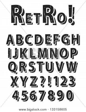 Retro Grunge alphabet set with numbers, vector illustration.