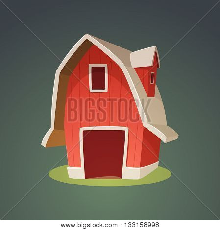 Cartoon illustration of the red farm barn icon.