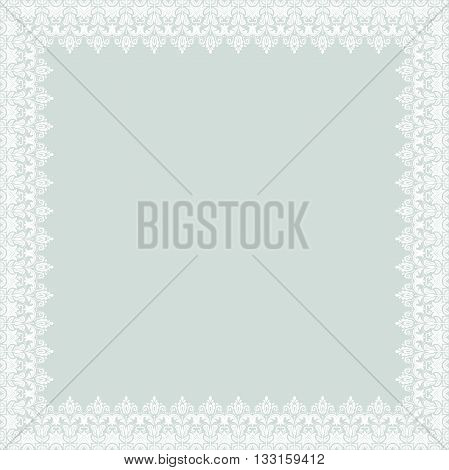 Classic vector square frame with arabesques and orient elements. Abstract fine ornament with place for text. Light blue and white pattern