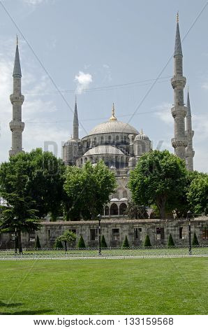 View of the famous Sultan Ahmed Mosque commonly known as the Blue Mosque in Istanbul Turkey.