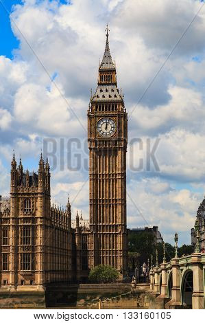 LONDON UNITED KINGDOM - 23 MAY 2016: Big Ben and house of parliament on Sunny Day London UK