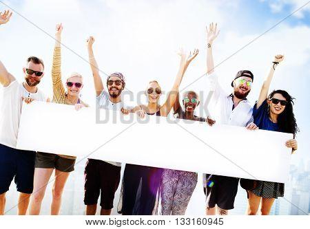 Diverse Summer Friends Fun Copy Space Concept