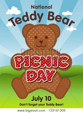 Teddy Bear Picnic Day poster, national holiday in USA on July 10, kids and their favorite stuffed toys have lunch outdoors, red polka dot text, blue sky background.