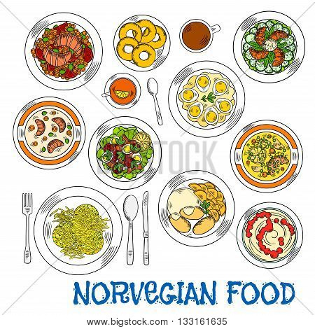 Traditional norwegian smoked salmon sketch icon served with vegetable salads, stews and soups, egg salad, parsnip pancakes latkes and potato with turnip mash, dessert rice porridge with jam and donuts with coffee and tea beverages