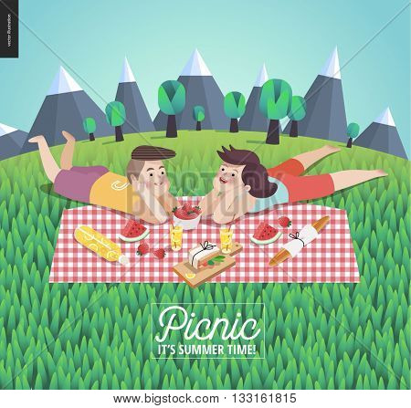 Young couple on picnic template - flat cartoon vector illustration of woman and man laying down on checkered plaid in landscape with mountains and trees, and field of grass on the foreground