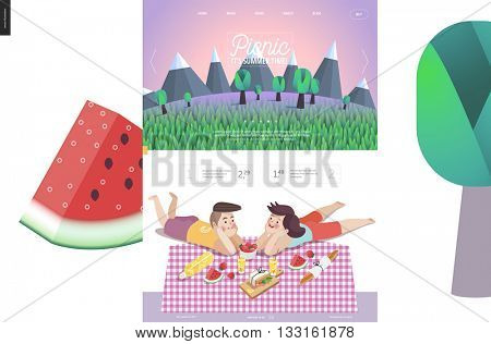 Picnic website template - landscape in header, and flat cartoon vector illustration of woman and man laying down on checkered plaid with picnic snack