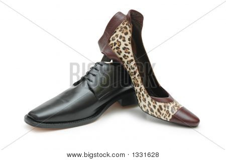 Black Male Shoe And Female Shoe Isolated On White
