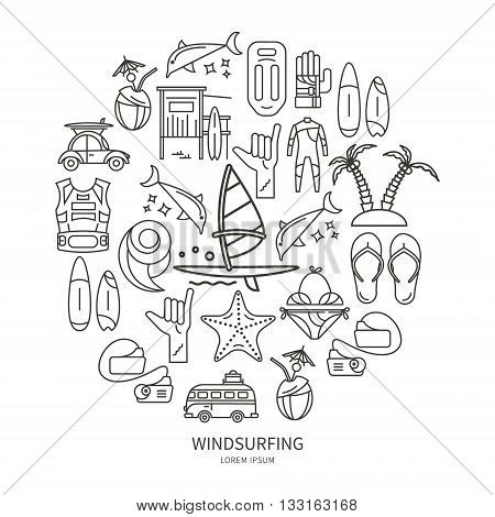 Vector set of icons line for windsurfing. Board with a sail wetsuit surfboard wave sail. For outdoor enthusiasts of the sea and an active lifestyle. The icons in the form of circle