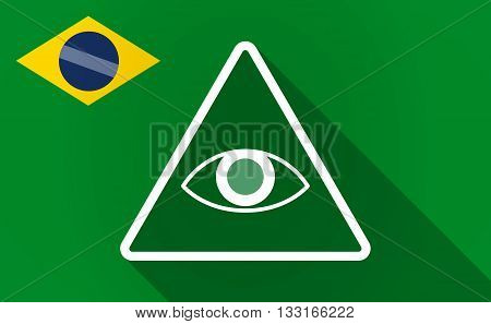 Long Shadow Brazil Flag With An All Seeing Eye