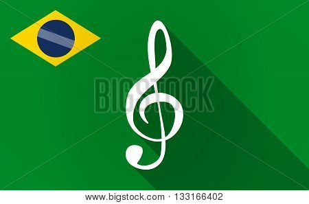 Long Shadow Brazil Flag With A G Clef