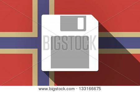 Long Shadow Norway Flag With A Floppy Disk
