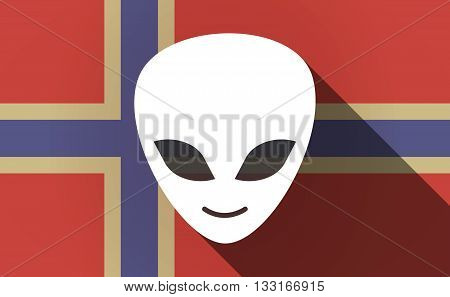 Long Shadow Norway Flag With An Alien Face