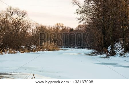 winterice, snowflake,  ice  landscape of frozen river