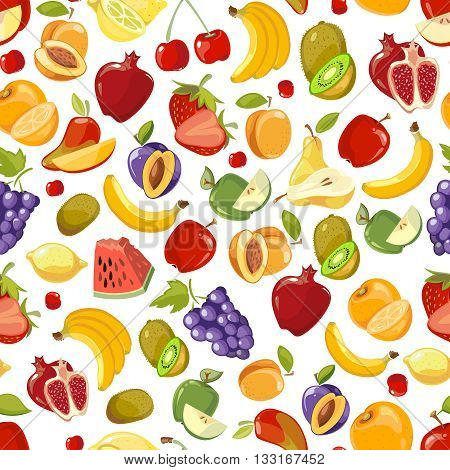 Seamless vector summer juicy fruit and berries exotic cocktail. Endless summer fruit and sweet vitamin fruit pattern illustration