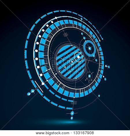 Technical plan blue abstract engineering draft for use in graphic and web design. Perspective vector drawing of industrial system created with mechanical parts and circles.