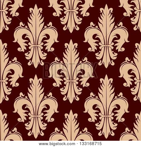 Ornamental heraldic fleur-de-lis seamless pattern with lush compositions of beige curly leaves on maroon background. Vintage wallpaper or upholstery design