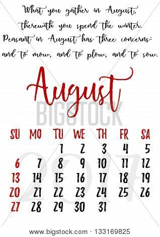 Calendar design grid in hand written style with russian proverbs adages and saying and dates of summer month August 2017. Vector illustration
