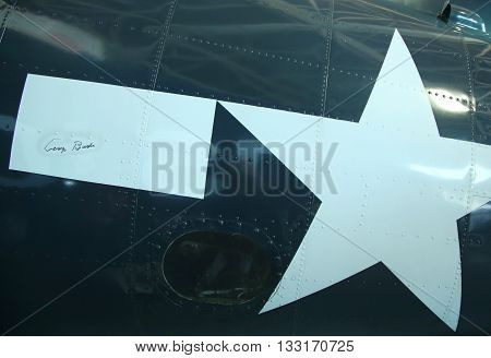 FARMINGDALE, NEW YORK - APRIL 14, 2016: Signature Of President George H.W. Bush On Grumman TBM Avenger Torpedo Bomber on display at the American Airpower Museum in Farmingdale, New York.