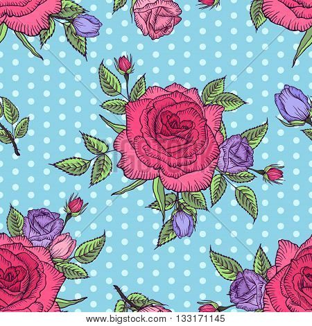 Seamless floral pattern rose on blue background with polka dots. Pink and lilac rose. Flower rose pattern. Vector illustration. Design by card, mothers day, wedding, birthday, textile, web, wallpaper