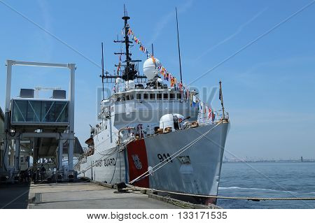 NEW YORK - MAY 26, 2016: United States Coast Guard Cutter Forward docked in Brooklyn Cruise Terminal during Fleet Week 2016 in New York.