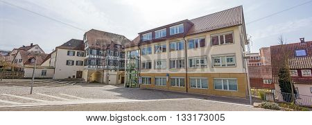 Backnang Germany - April 3 2016: City panorama of Backnang near the district court.