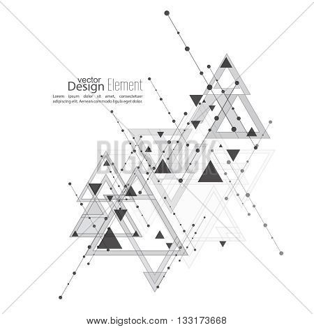 Abstract vector background with geometric shapes intersecting. Diagonal lines with dots and translucent triangles. Ethnic, mystical symbol. hipster pattern. Black and white. Cosmic design. gray
