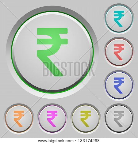 Set of color indian rupee sign sunk push buttons.