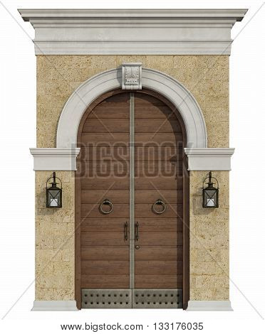 Front View Of A Medieval Portal With Wooden Door