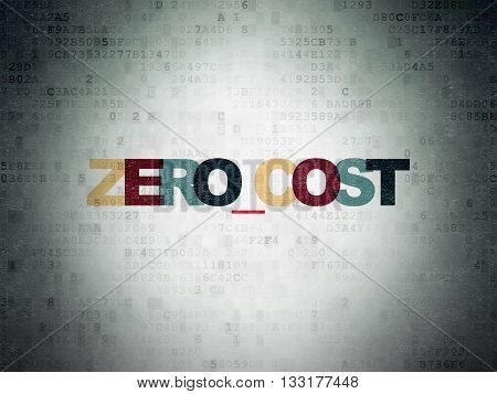 Finance concept: Painted multicolor text Zero cost on Digital Data Paper background