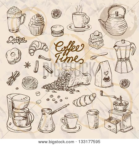 Collection of coffee doodle elements for cafe menu fliers chalkboard. Vector illustration for your design