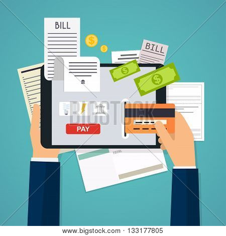 Mobile Payment Concept. Phone Laying Down On Bill Heap. Flat Vector Icon. Flat Design Modern Vector