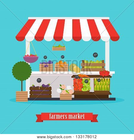 Farmers market. Local market Fruit and vegetables. Flat design modern vector illustration concept.