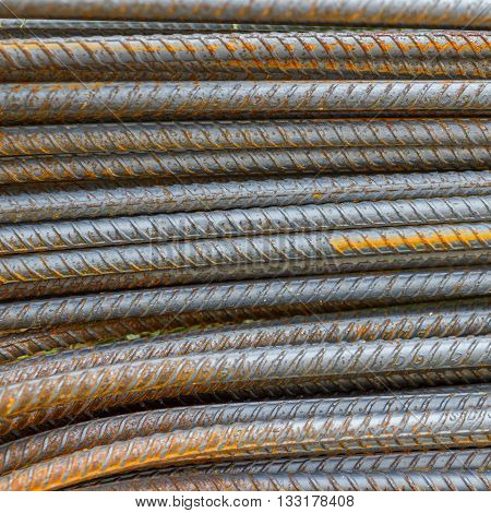 Steel rod as background with square size