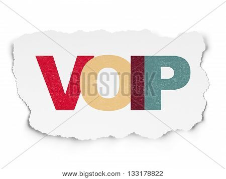 Web development concept: Painted multicolor text VOIP on Torn Paper background