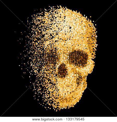 Skull of Golden Glitter on Black Background
