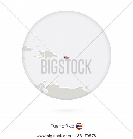 Map Of Puerto Rico And National Flag In A Circle.