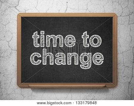 Time concept: text Time to Change on Black chalkboard on grunge wall background, 3D rendering