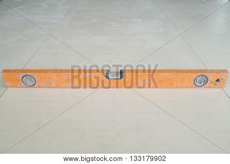 Spirit Level Tool On Floor Tile