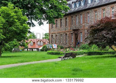 LANGENSELBOLD, GERMANY-JUNE 05,2016: Castle (1722 bis 1752)  Garden in Langenselbold, near Hanau in Hessen, Germany
